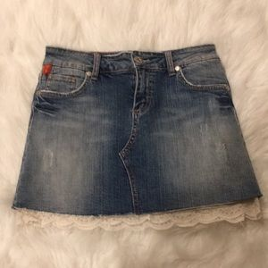 GIRLS JEAN SKIRT WITH LACE INSERT